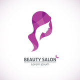 Abstract logo for a beauty salon portrait of a girl/Vector template abstract logo for beauty salon stylized profile of a young beautiful woman