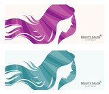 Banner or business card stylized woman profile for beauty salon/Illustration of template banner or business card stylized long-haired woman for beauty salon