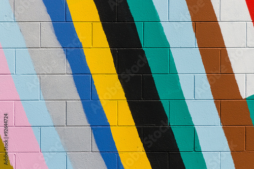 Fotobehang Graffiti colorful stripes painted on wall