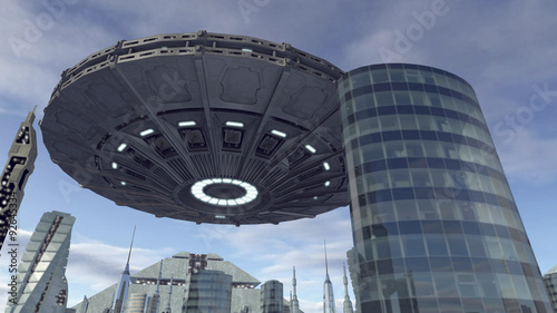 Foto op Canvas UFO flying above futuristic pyramid city
