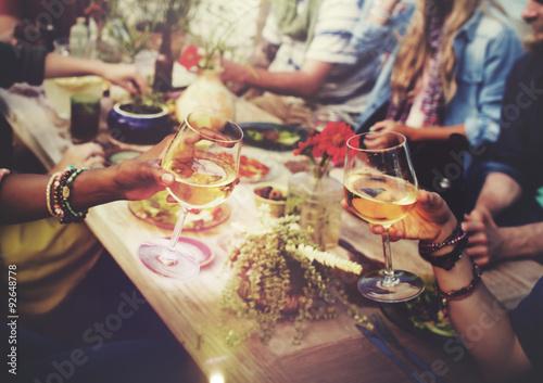 Poster, Tablou Beach Cheers Celebration Friendship Summer Fun Dinner Concept