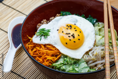 Juliste bibimbap, korean dish closeup