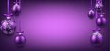 Abstract banner with purple christmas balls.