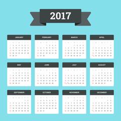 simple editable vector calendar 2017 on white background sunday first