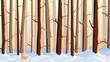 Horizontal illustration of cartoon snowy forest with fox.