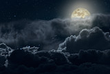 Fototapety Cloudy full moon night