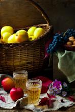 apple cider in vintage glass glasses