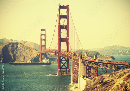 Old film retro style Golden Gate Bridge in San Francisco, USA. - 92684193