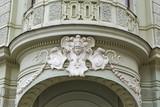 Secession style ornament on building. Ljubljana, Slovenia. poster