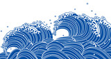 Fototapety 和風の青い波