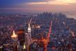 New York City Manhattan skyline aerial view panorama at sunset