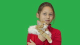 girl and funny ginger kitten mewing poster