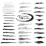 36 vector art brushes. Hand drawn ink brushes with rough edges. - 92714755