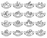Fototapety set of sixteen monochrome nuts icons