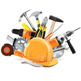 Vector Construction Tools with Helmet
