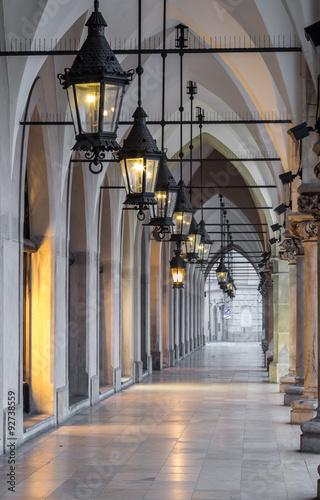 Fototapety, obrazy : Arcade in Cloth Hall (Sukiennice) in Krakow, Poland