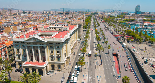 Fototapeta Barcelona panorama cityscape, city streets traffic aerial view