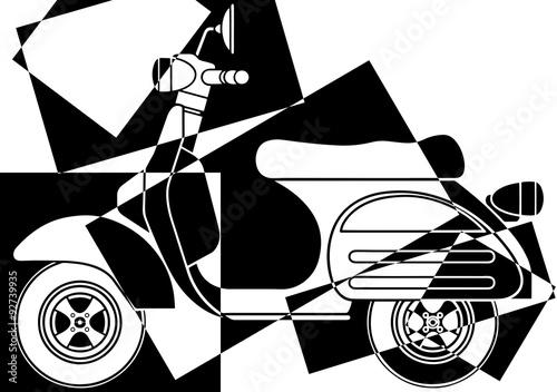 Fototapeta Scooter pop art en noir et en blanc