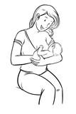 Dibujo a linea mujer dando el pecho sentada a su bebe recién nacido sobre fondo blanco