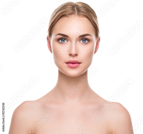 Beautiful spa model girl with perfect fresh clean skin Poster