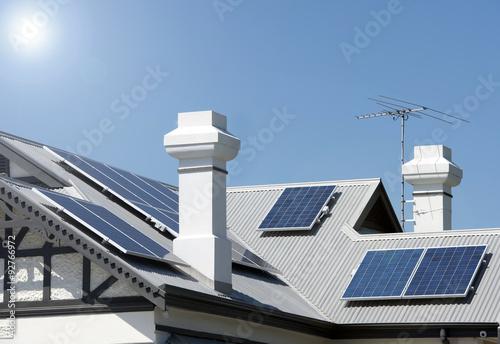 Solar panels on Australian rooftop Poster
