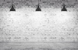 Fototapety Brick wall, concrete floor and lamps  background 3d render