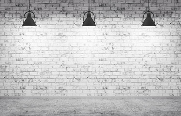 Brick wall, concrete floor and lamps  background 3d render