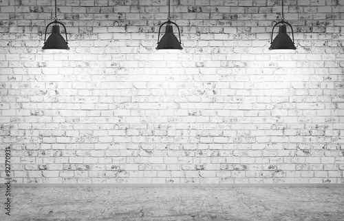 Fototapeta Brick wall, concrete floor and lamps background 3d render