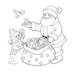Santa Claus, rabbit and birds with Christmas gifts.