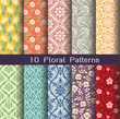 a seamlessly floral pattern set. 10 of tileable pattern units. a editable vector file. - 92781792