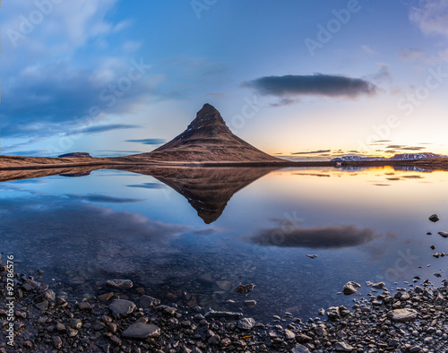 Mt. Kirkjufell and reflection in sunrise, Iceland