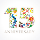 15 anniversary ethnic numbers. The template logo of 15th birthday in vintage patterns with flowers and the bird of paradise.