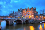 Fototapety Beautiful long exposure HDR image of the Brouwersgracht in Amsterdam, the Netherlands, a UNESCO world heritage site.