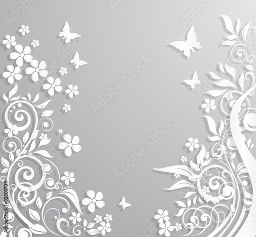 Deurstickers Vlinders in Grunge Abstract background with paper flowers and butterflies.