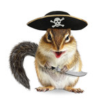 Funny animal pirate, chipmunk with filibuster hat and sabre poster