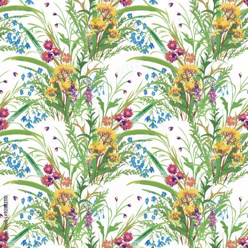 Fototapeta Seamless pattern with Beautiful flowers, Watercolor painting