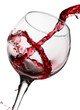 Quadro red wine pouring in glass isolated on white background
