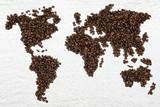 Fototapety Kaffee Kaffeebohnen Weltkarte