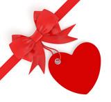 fiocco con biglietto forma cuore