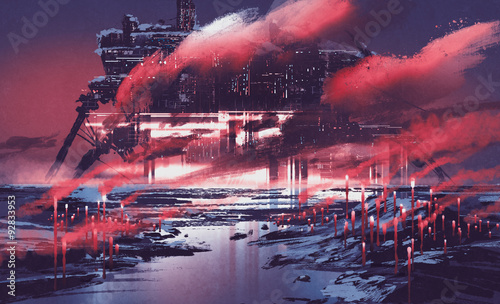 Foto op Canvas Crimson sci-fi scene of industrial city,illustration painting