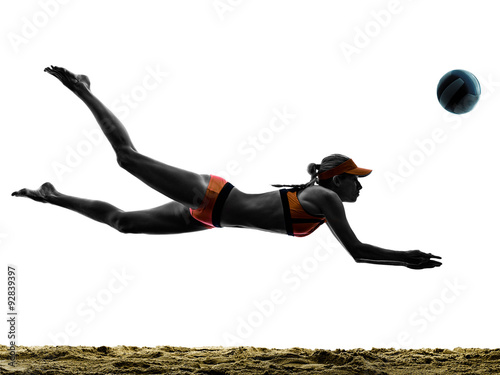 woman beach volley ball player silhouette Tableau sur Toile