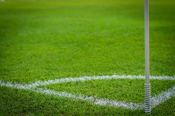 green grass conner of football field