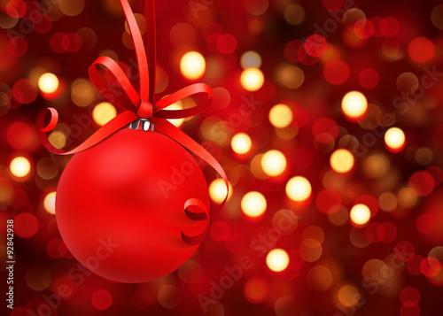 Fototapeta Bokeh - Rote Weihnachtskugel mit Schleife