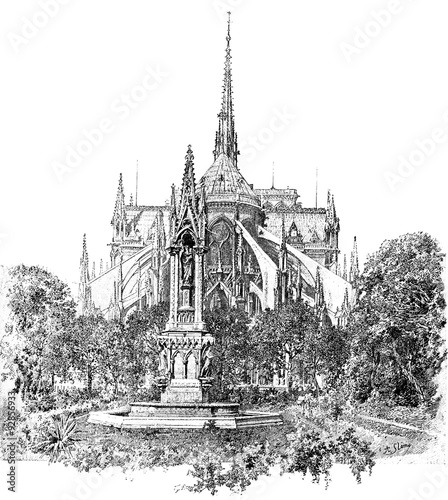 In de dag Art Studio Square of the Archdiocese and apse of Notre Dame, vintage engrav