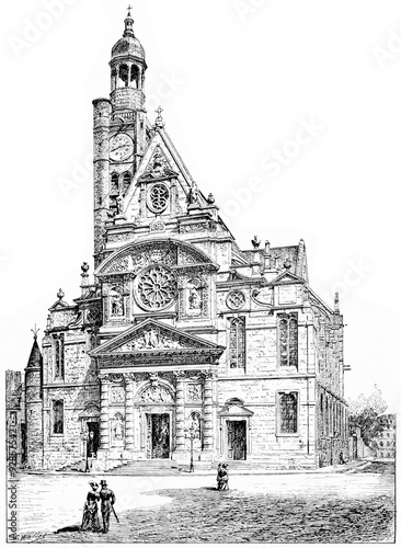 In de dag Art Studio Church of St. Etienne du Mont, vintage engraving.