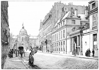 Rue de Tournon and facade of the Palace of the Senate, Barracks