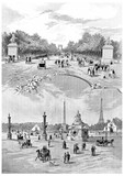 Place de la Concorde and Champs-Elysees avenue, vintage engravin