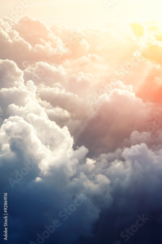 Beautiful blue sky background  - 92864116