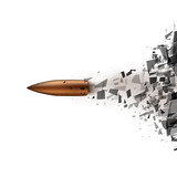 Fototapety Bullet shot smashed the glass in the splinters. Vector illustration