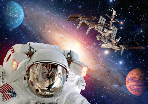 Astronaut spaceman helmet planet outer space shuttle station spaceship. Elements of this image furnished by NASA.